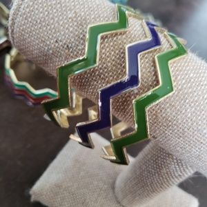 Navy blue, green & gold stackable bangle bracelets